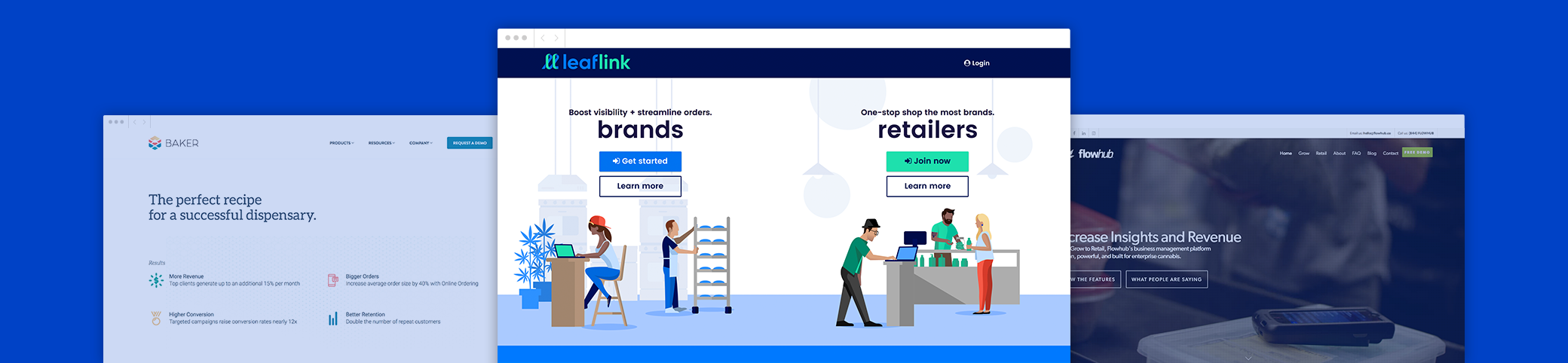 LeafLink with competitors FlowHub and Baker